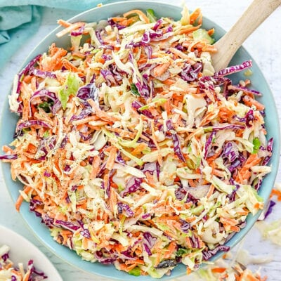Cole slaw in blue bowl ready to serve.