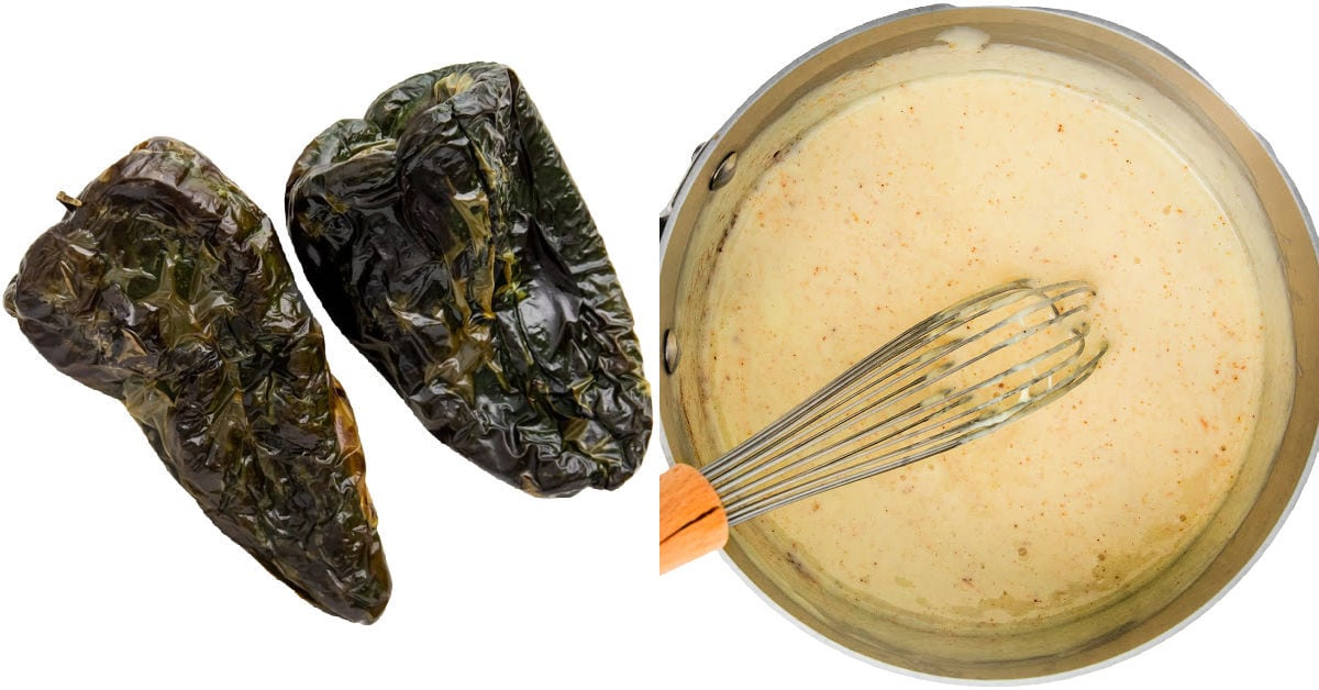 charred poblano peppers and queso dip in sauce pan.
