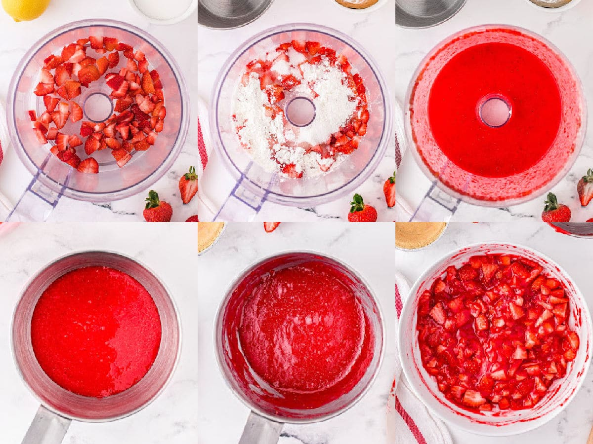 six image collage showing how to make strawberry filling.