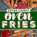 oven fries on baking sheet and being served with ketchup. center color block and text overlay.