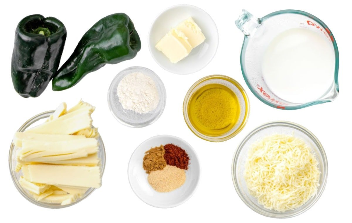 queso blanco ingredients set out in small bowls and ready to use.