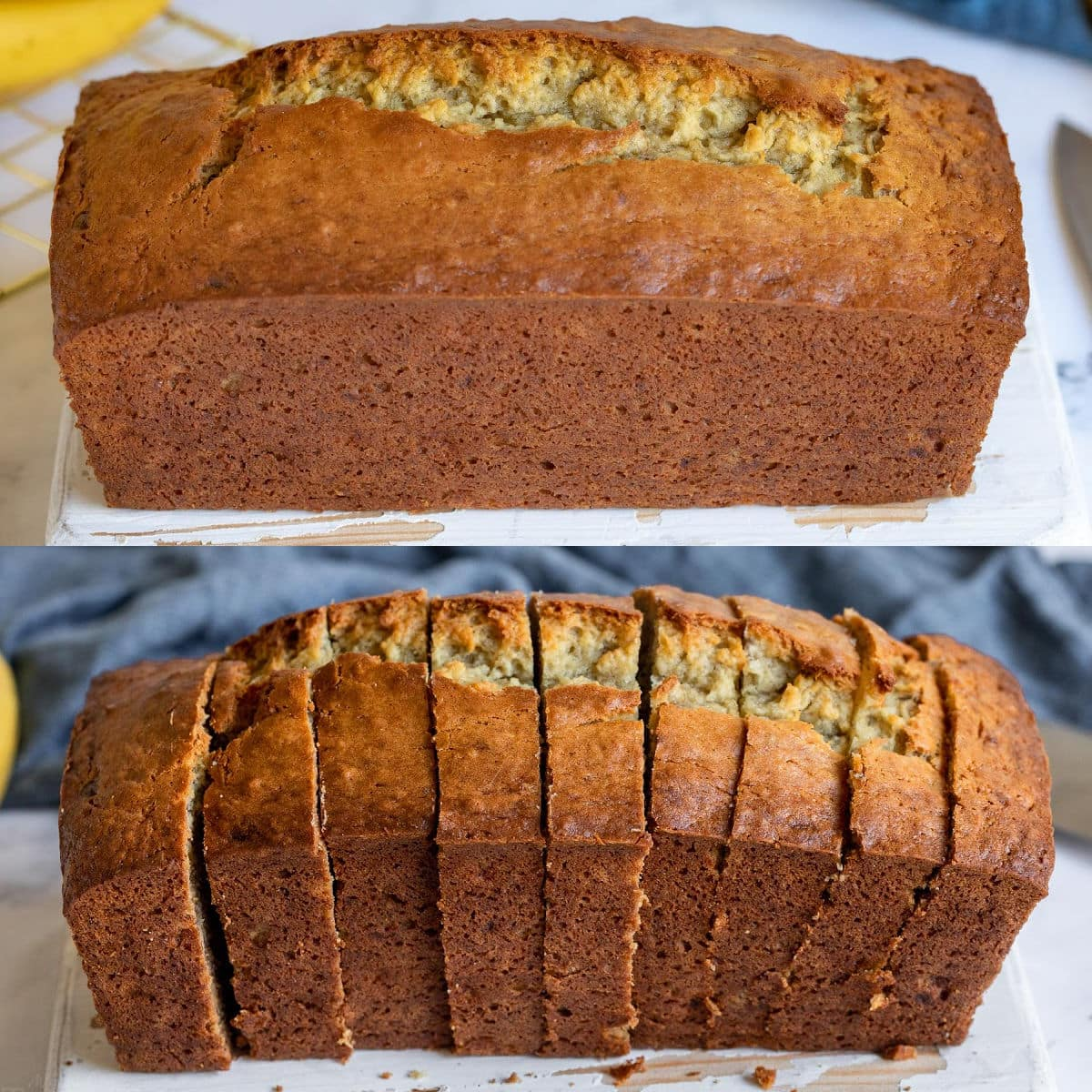 collage of whole loaf of banana bread and then loaf sliced up.