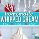 two image collage showing whipped cream on whisk and piped int a glass jar with center color block and text overlay.