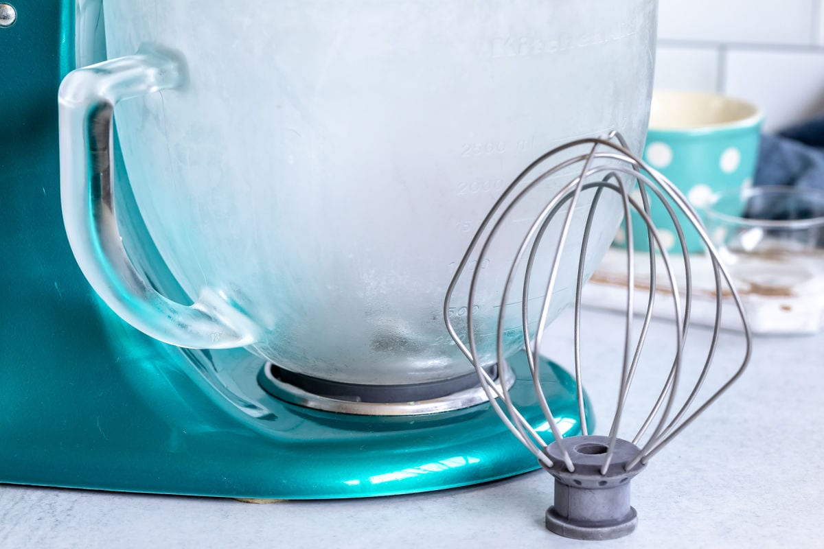 cold mixing bowl and whisk ready to use for whipped cream.