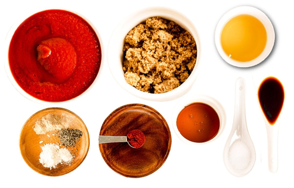 barbecue sauce ingredients measured out in small bowls.