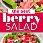 two image of berry salad in white bowl and top down look at the salad. center color block with text overlay.