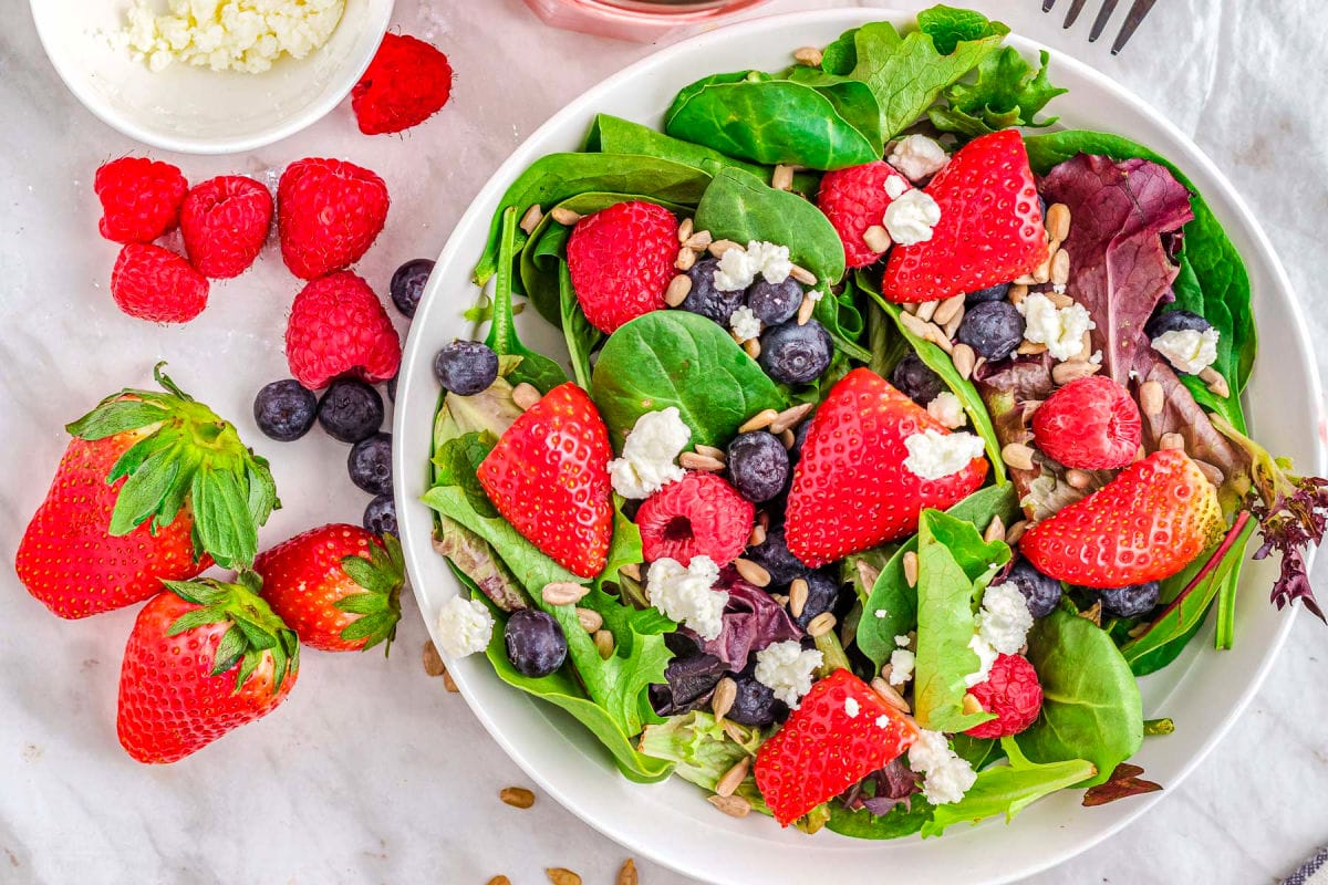 top down look at berry salad without dressing.