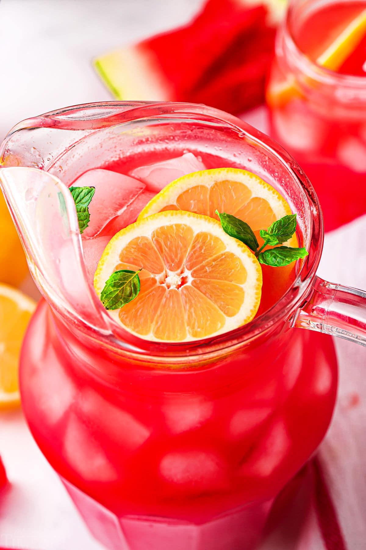 top down look at watermelon lemonade in pitcher.