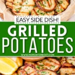 2 image collage showing grilled potatoes with dipping sauce. center color block and text overlay.