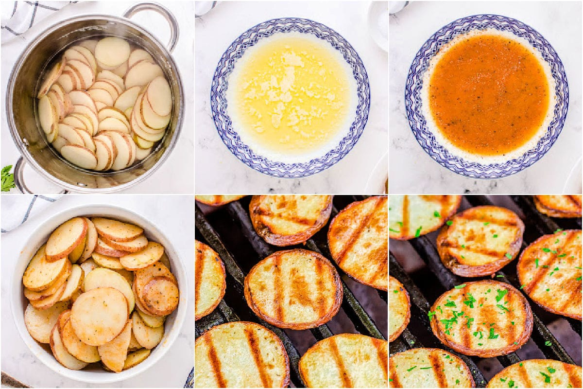 six image collage showing how to cook potatoes on the grill.