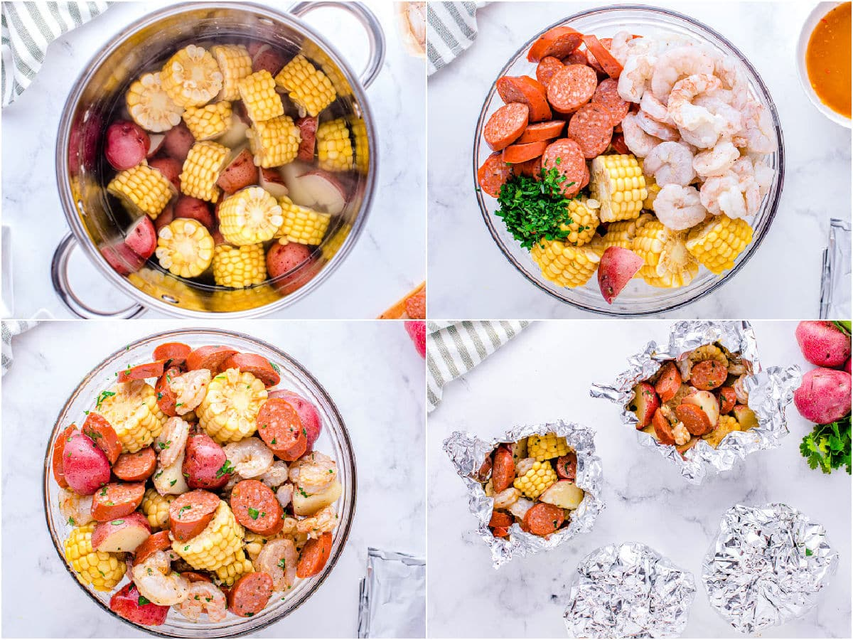 four image collage showing how to prepare shrimp foil packets for grilling or oven.