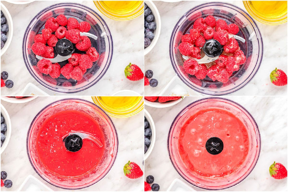 four image collage showing vinaigrette being made in food processor.