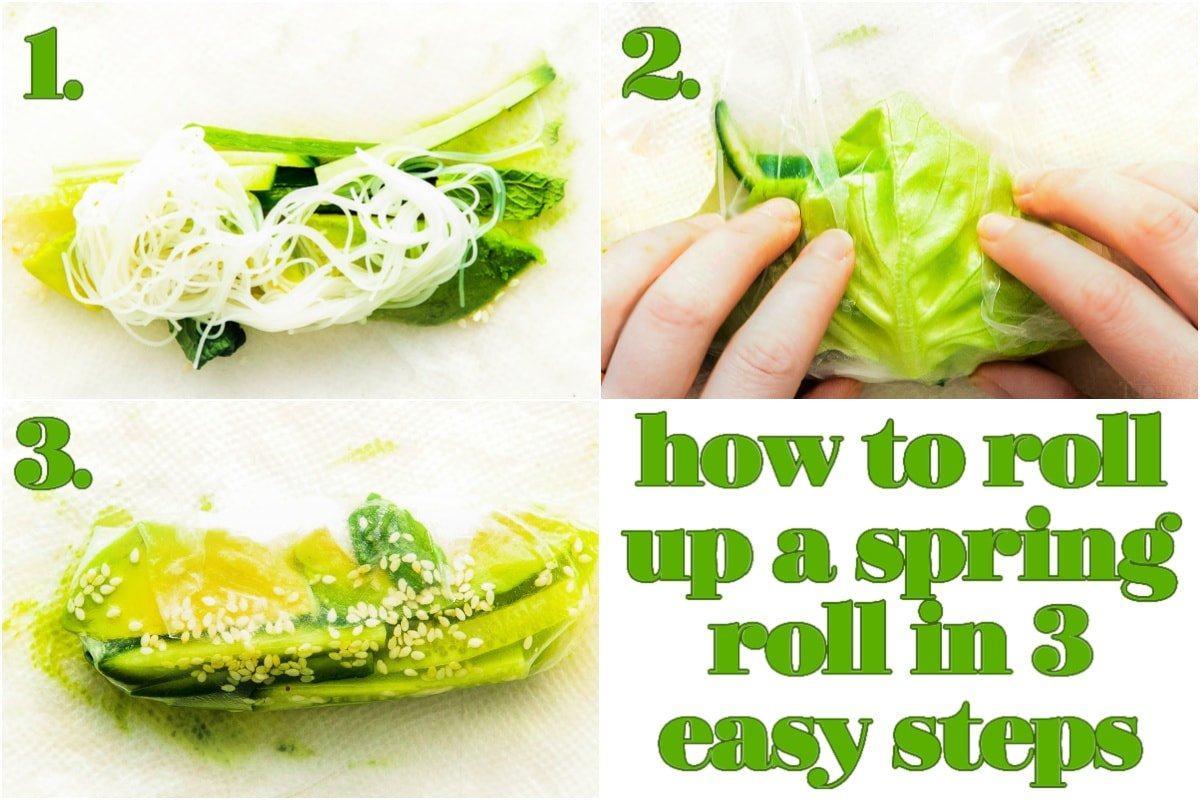 three image collage showing how to roll a spring roll.
