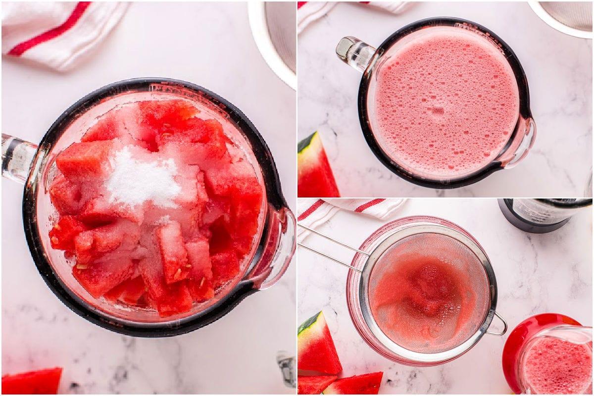 three image collage showing watermelon lemonade being prepared.