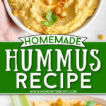 two image collage of hummus in bowl and celery being dipped in hummus. center color block and text overlay.