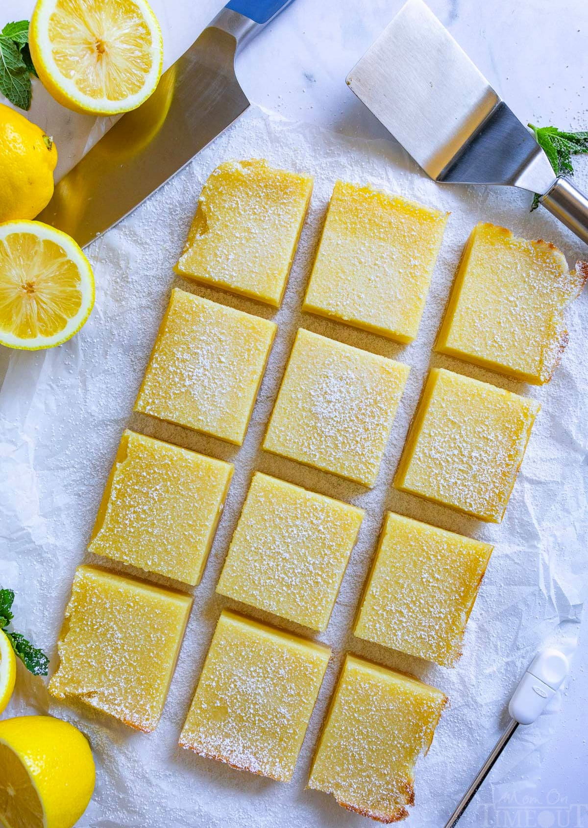 top down view of lemon bars cut into squares.