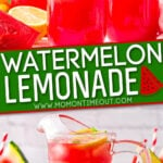 2 image collage of watermelon lemonade in glasses and in pitcher. center color block and text overlay.