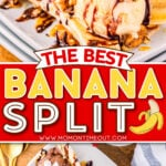 two image collage showing banana split from the front and top down. center color block with text overlay.