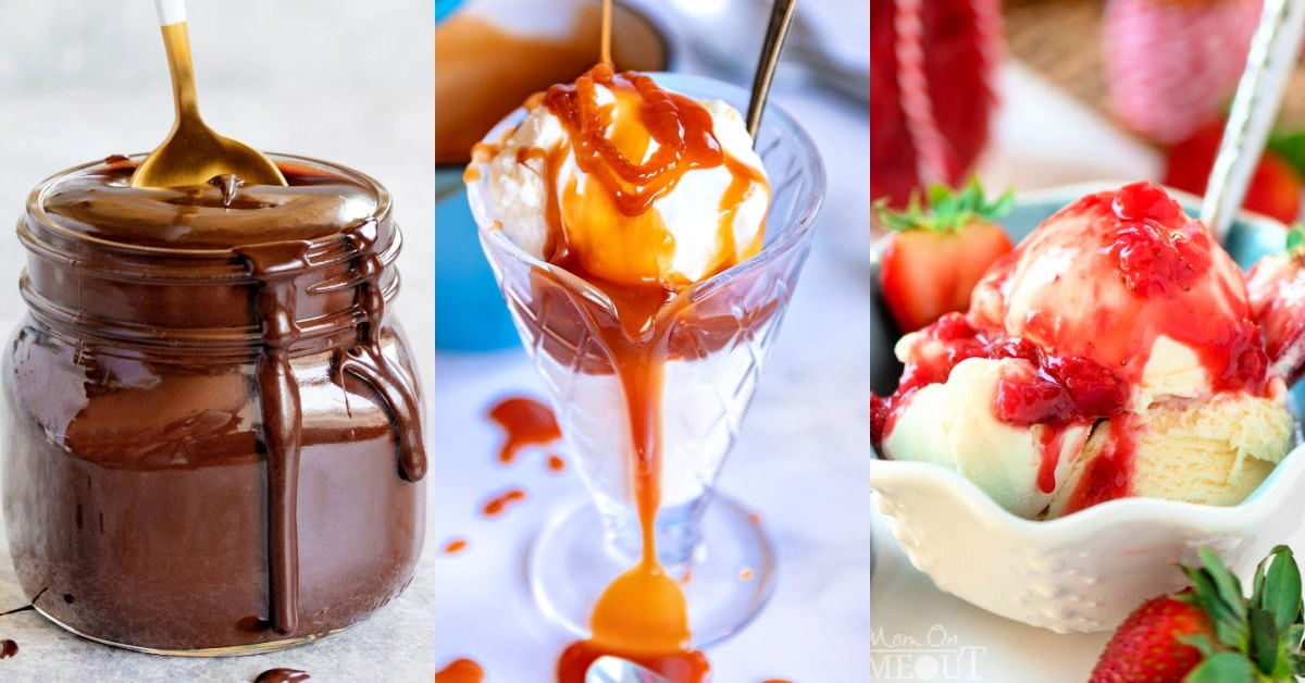 three image collage showing hot fudge, caramel sauce, and strawberry sauce.