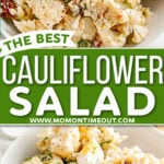 two image collage showing cauliflower salad in white bowl topped with hard boiled eggs and fresh ground black pepper. Center color block with text overlay.