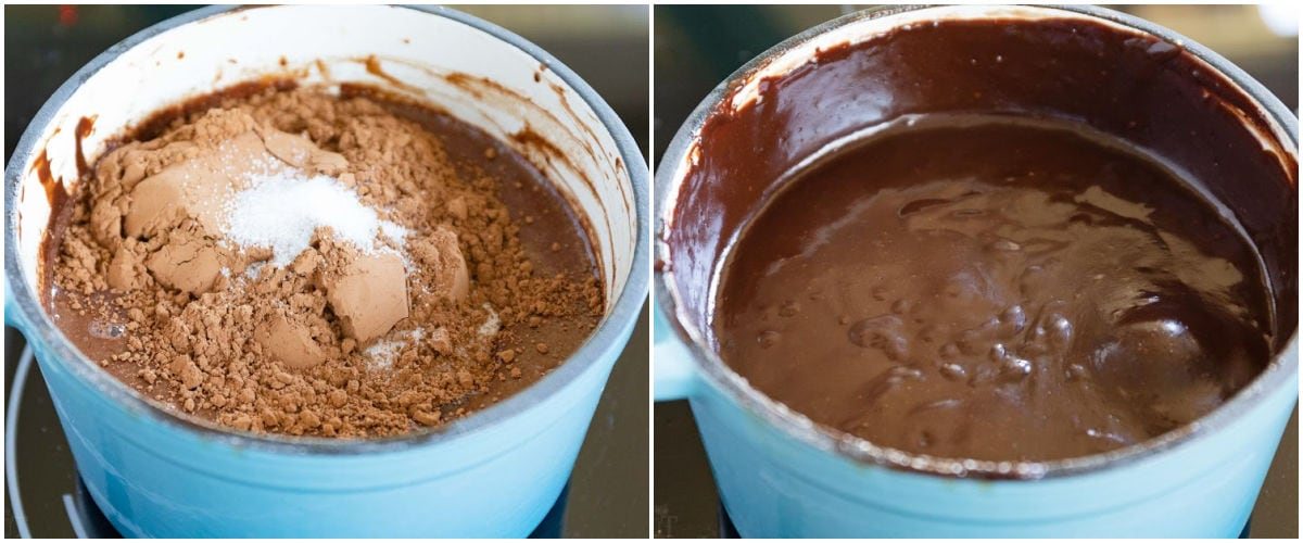 two image collage showing hot fudge sauce being made in small blue saucepan.