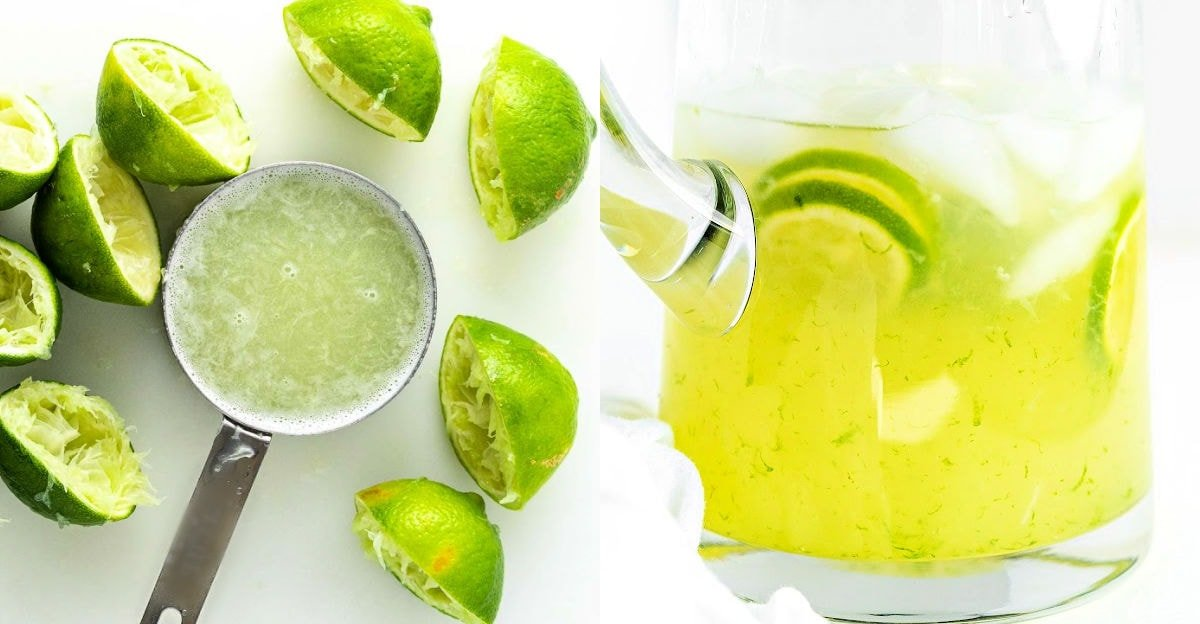 two image collage showing juiced limes and a half filled pitcher.