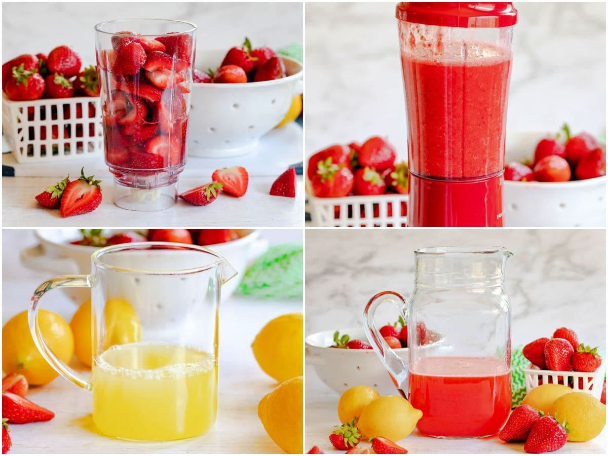 4 ingredient collage showing how to make strawberry lemonade.