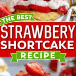 two image collage showing freshly prepared strawberry shortcake with strawberry syrup drizzle on bottom image. center color block and text overlay.