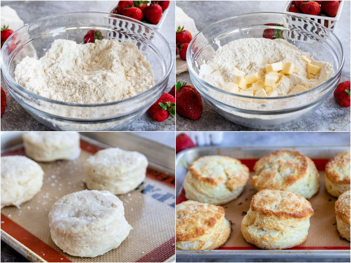 four image collage showing how to make biscuits for strawberry shortcake.