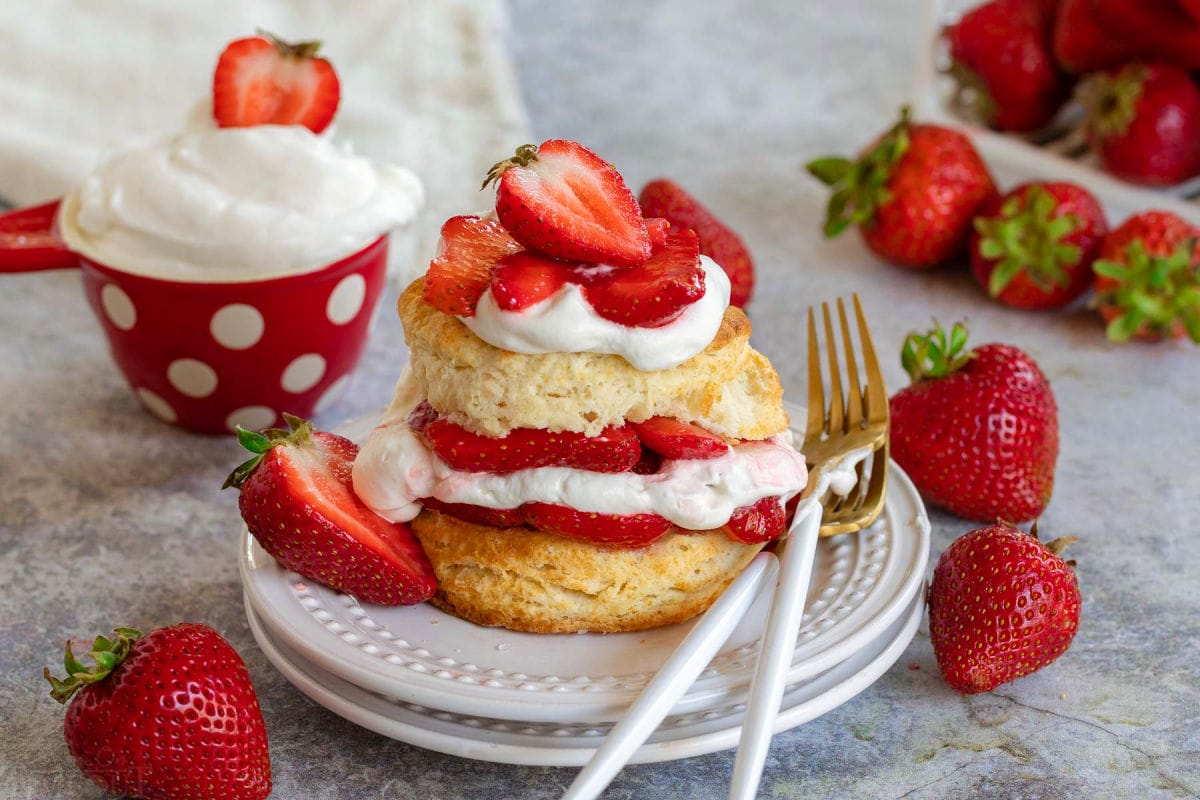 easy strawberry shortcake made with homemade biscuits, whipped cream and macerated strawberries on white plate with fresh whipped cream and strawberries in background and scattered about.