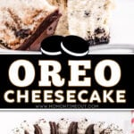 two image collage showing whole oreo cheesecake and piece of cheesecake on a white plate with a bite taken. center color block with text overlay.