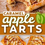 two image collage showing caramel apple tarts on wood board and on marble. center color block with text overlay.