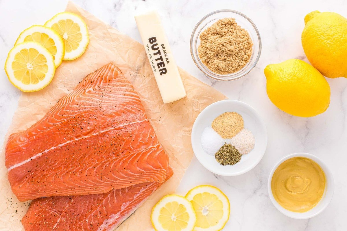 ingredients for baked salmon laid out and ready to use.