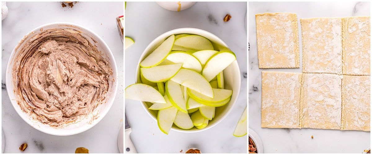 three image collage showing how to prep each component of the apple tart recipe.