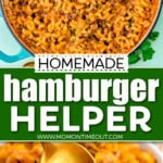 two image collage showing homemade hamburger helper in skillet and served in a small white bowl. Center color block with text overlay.