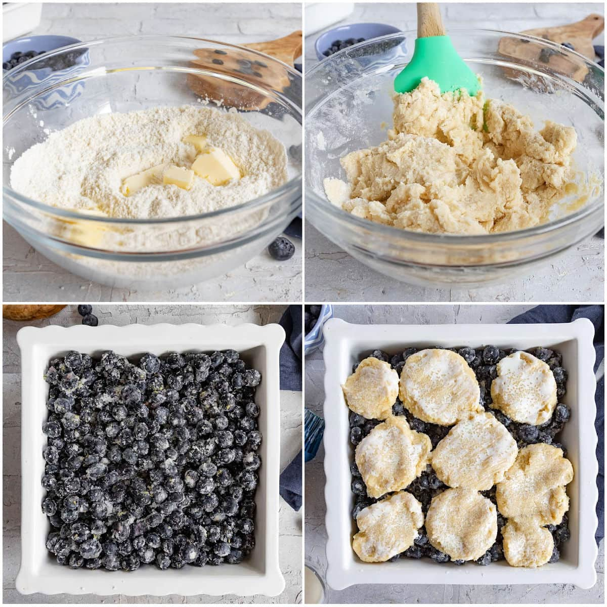 four image collage showing blueberry cobbler being assembled.
