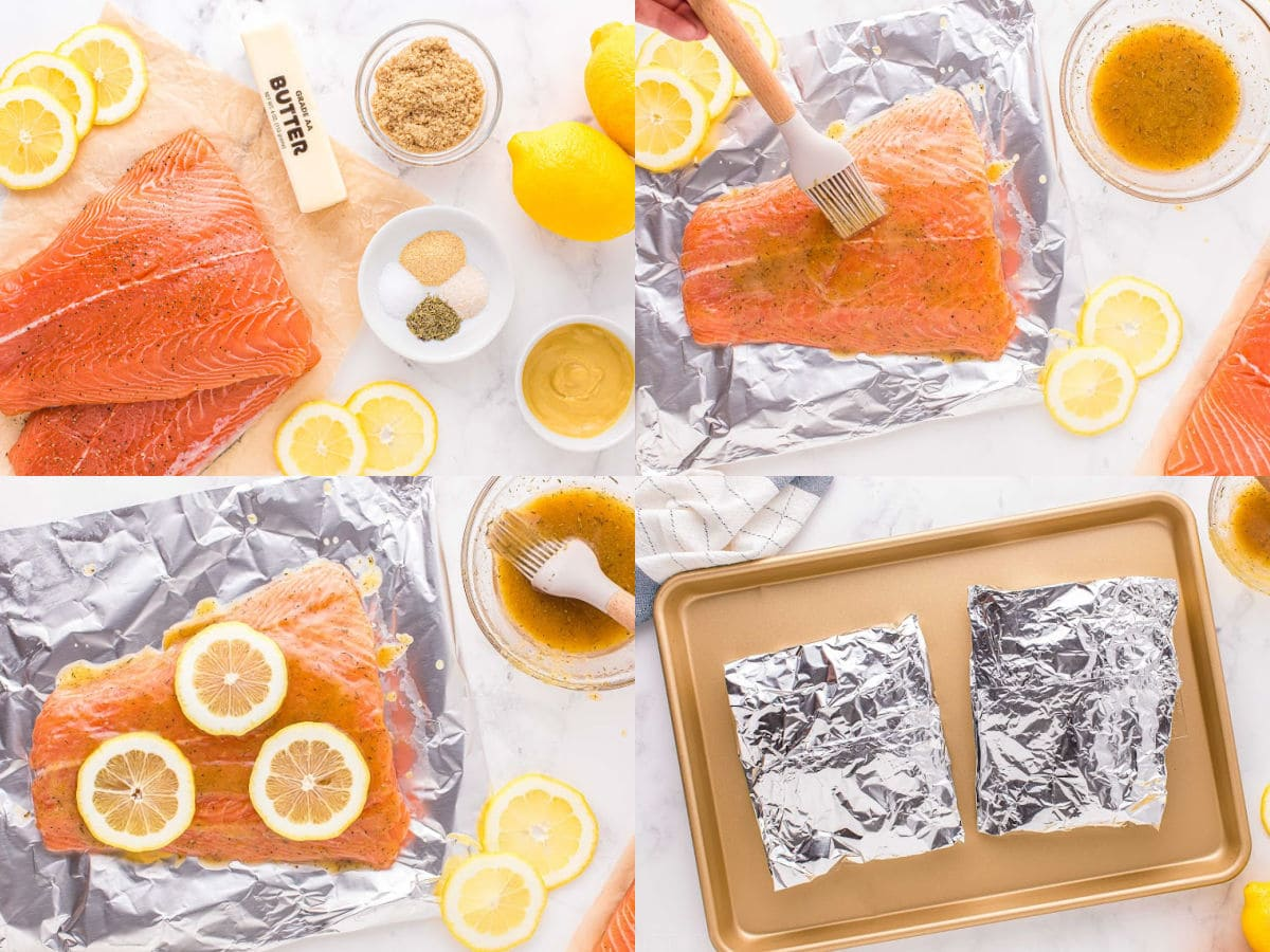 four image collage showing how to bake salmon in foil in the oven.