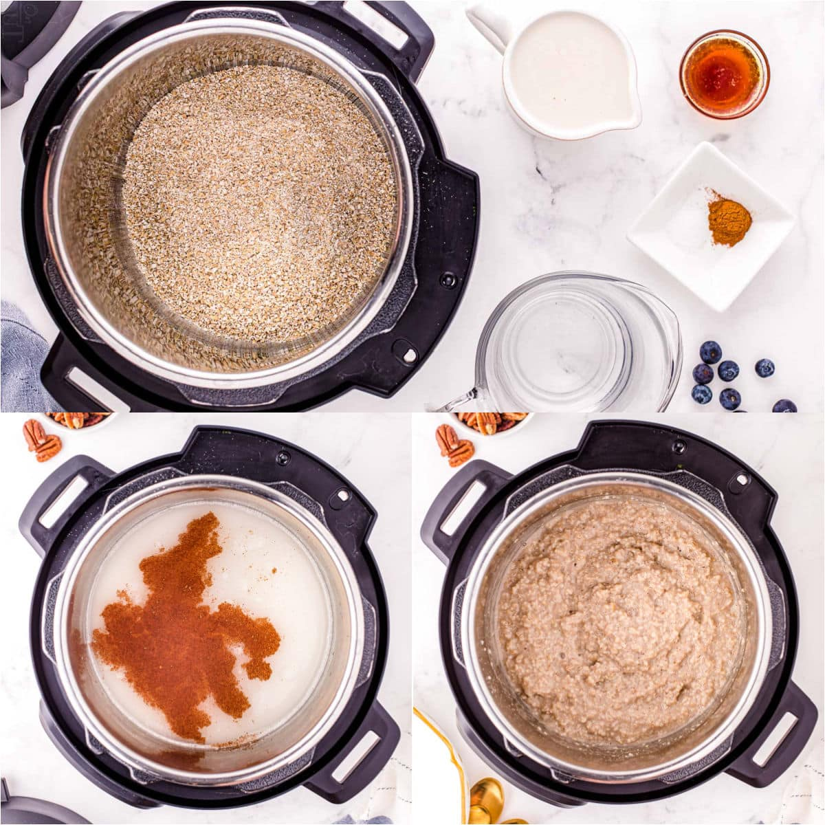 three image collage showing how to make instant pot steel cut oats.