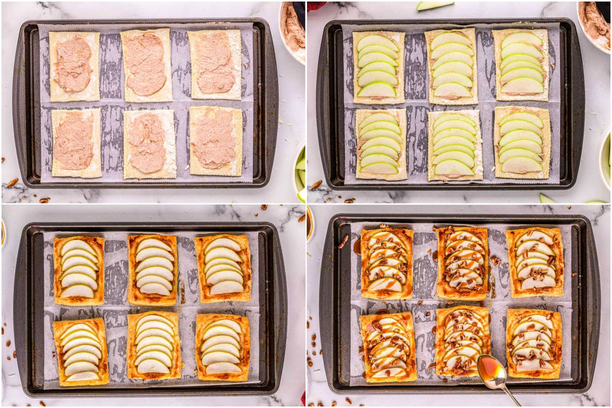 4 image collage showing how to assemble individual apple tarts with caramel sauce.