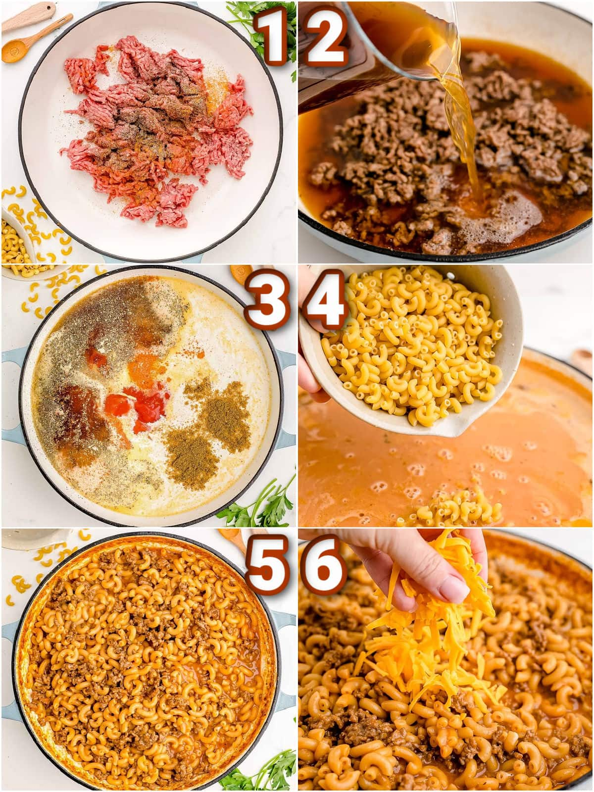 6 image collage showing step by step how to make hamburger helper at home.