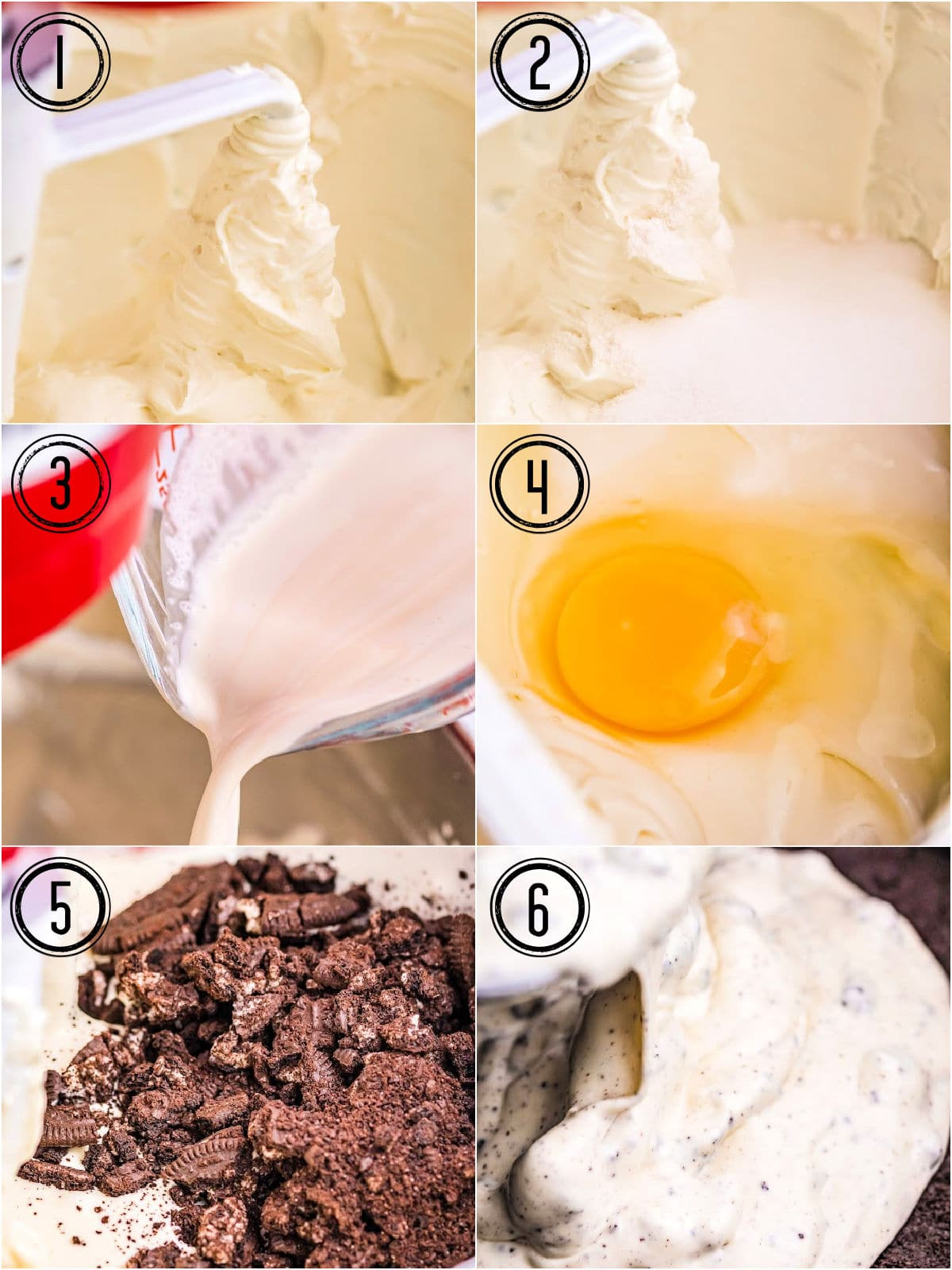 six image collage showing how to make oreo cheesecake that needs to be baked.