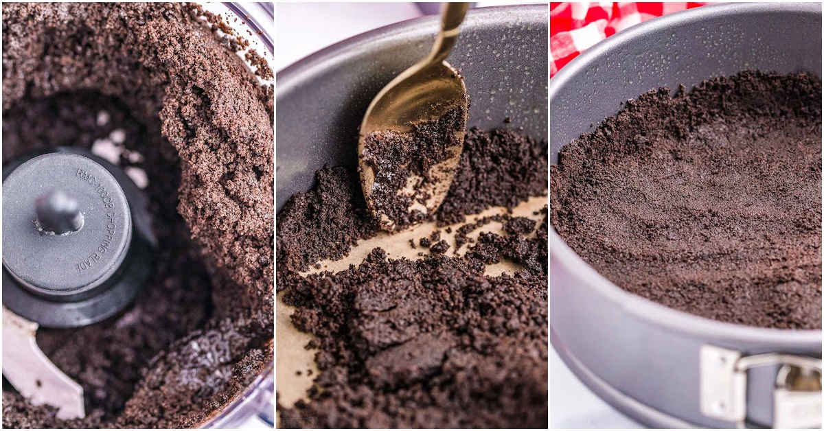 three image collage showing how to make an oreo crust for a cheesecake.