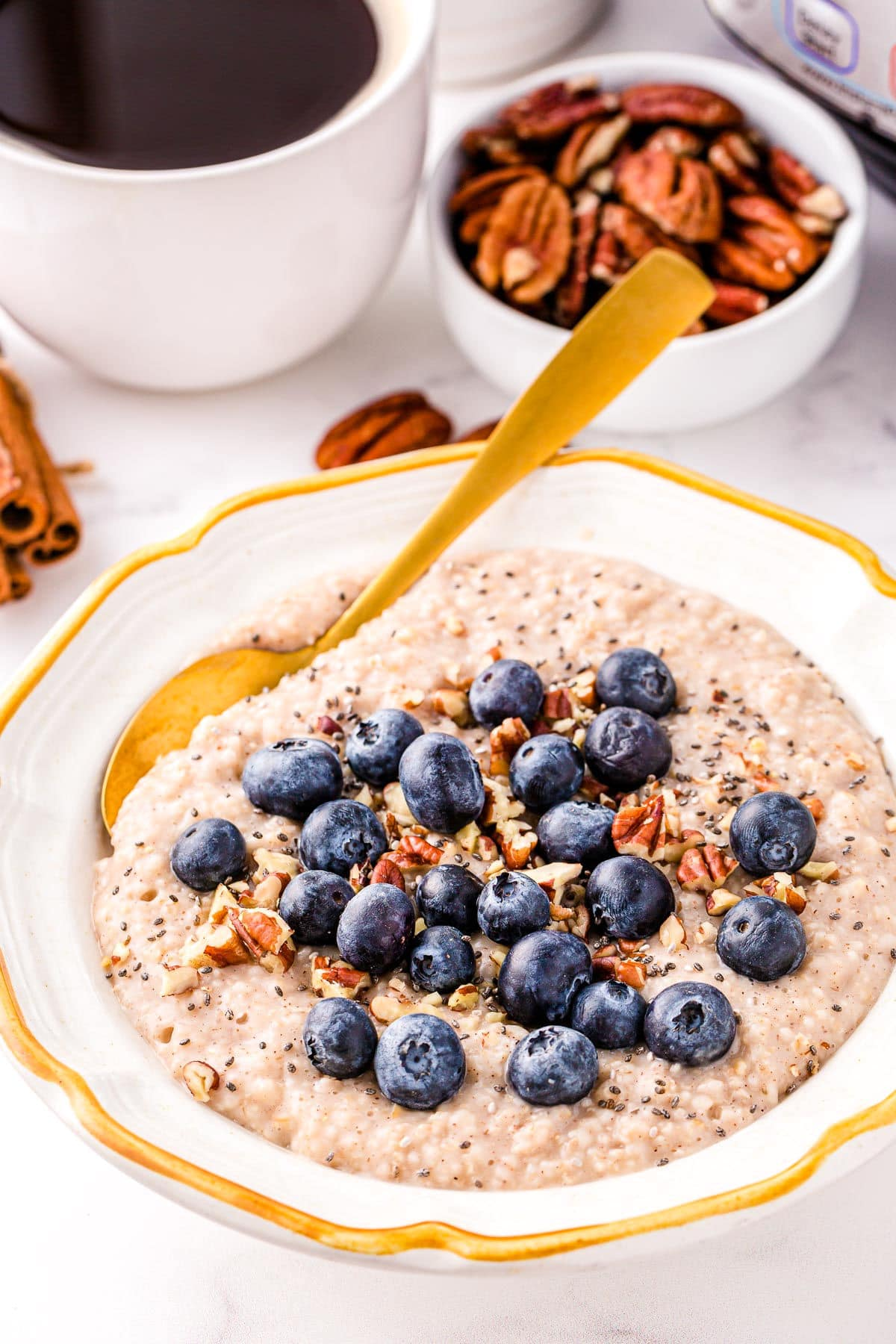 instant pot oats in white bowl with gold rim topped with blueberries and ground cinnamon. cup of coffee and small bowl of pecans in background.