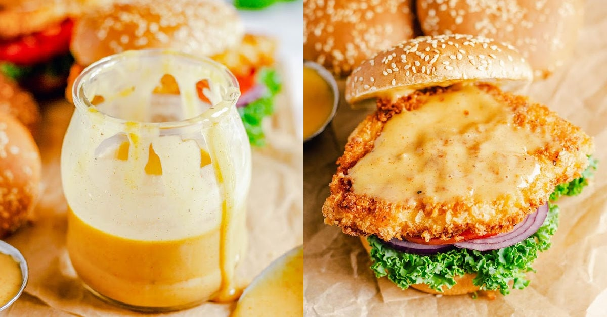 two image collage showing honey mustard sauce and chicken sandwich with the sauce spread on the chicken.