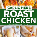 two image collage showing roasted chicken and the steps on how to make it. center color block with text overlay.