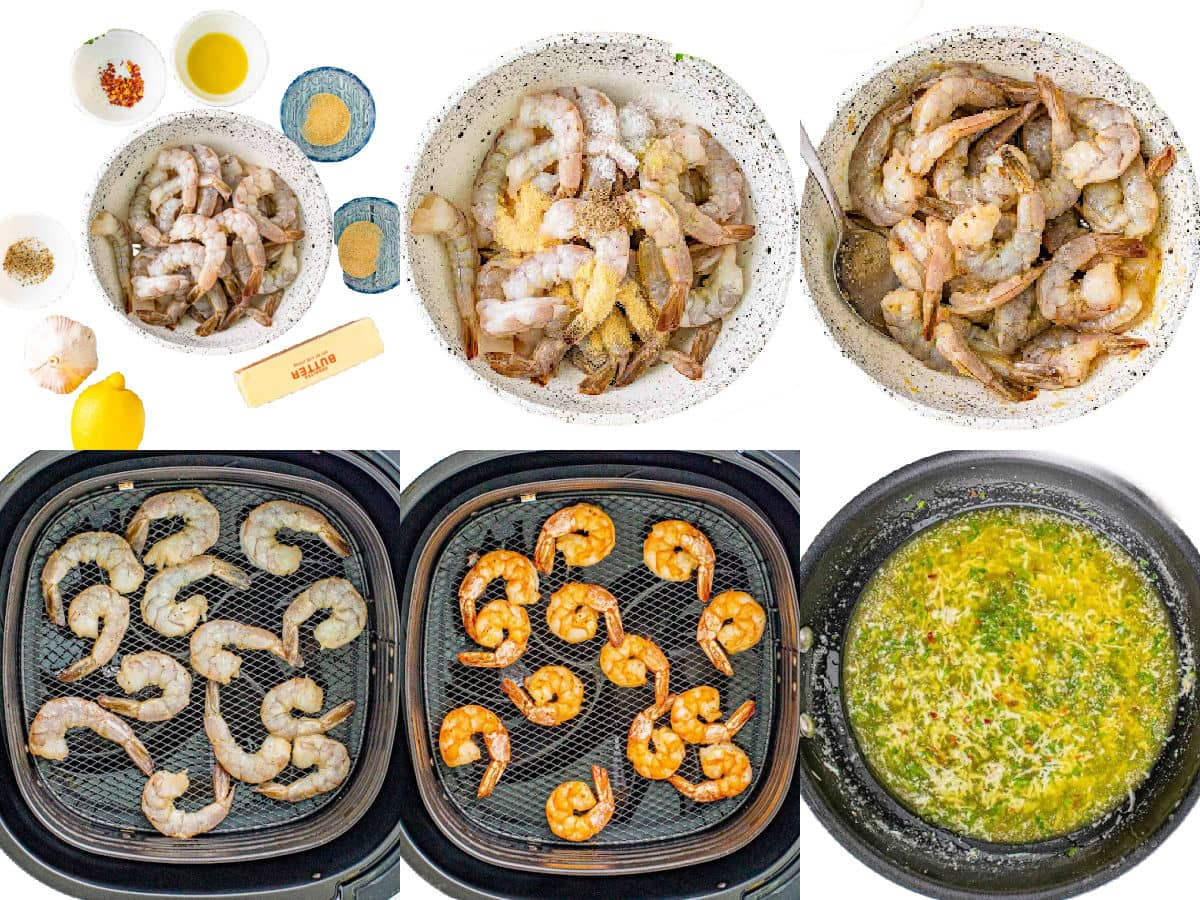 six image collage showing how to cook shrimp in air fryer.