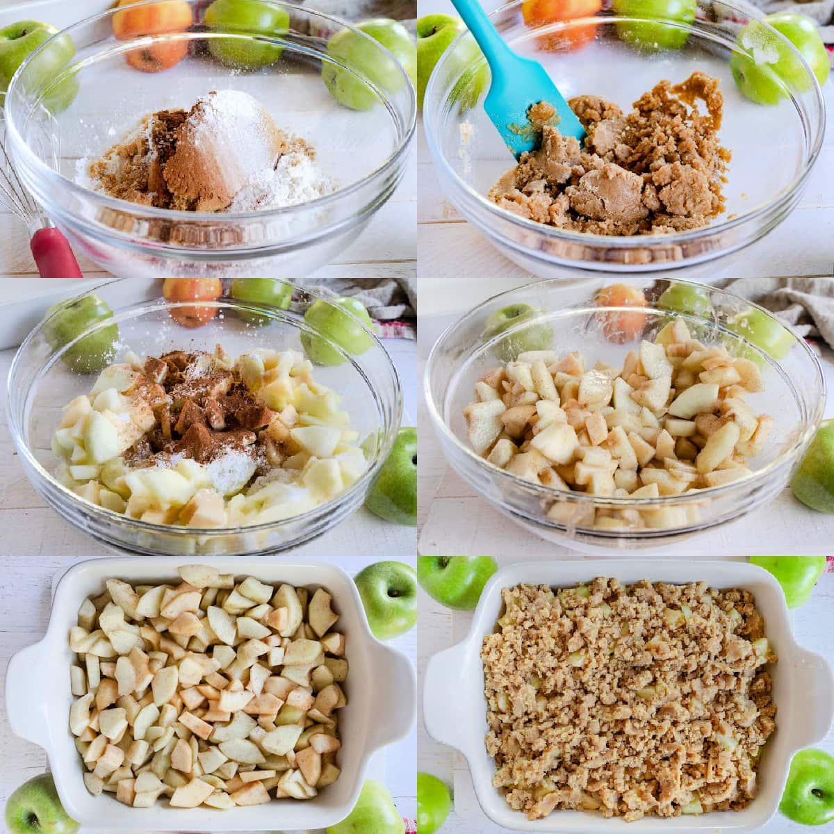 six image collage showing step by step how to make apple crumble.