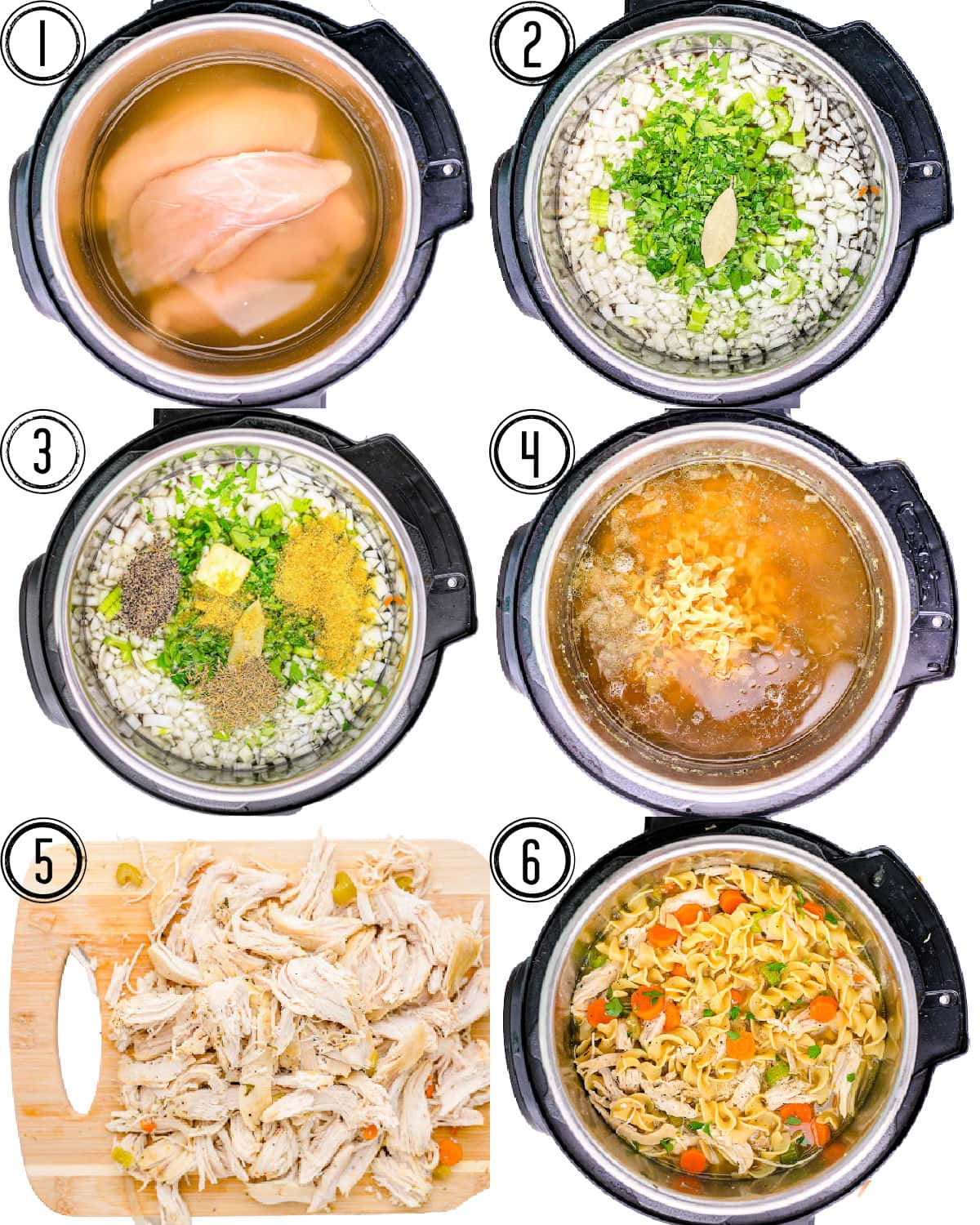 six image collage showing the easy steps of how to make instant pot chicken noodle soup.