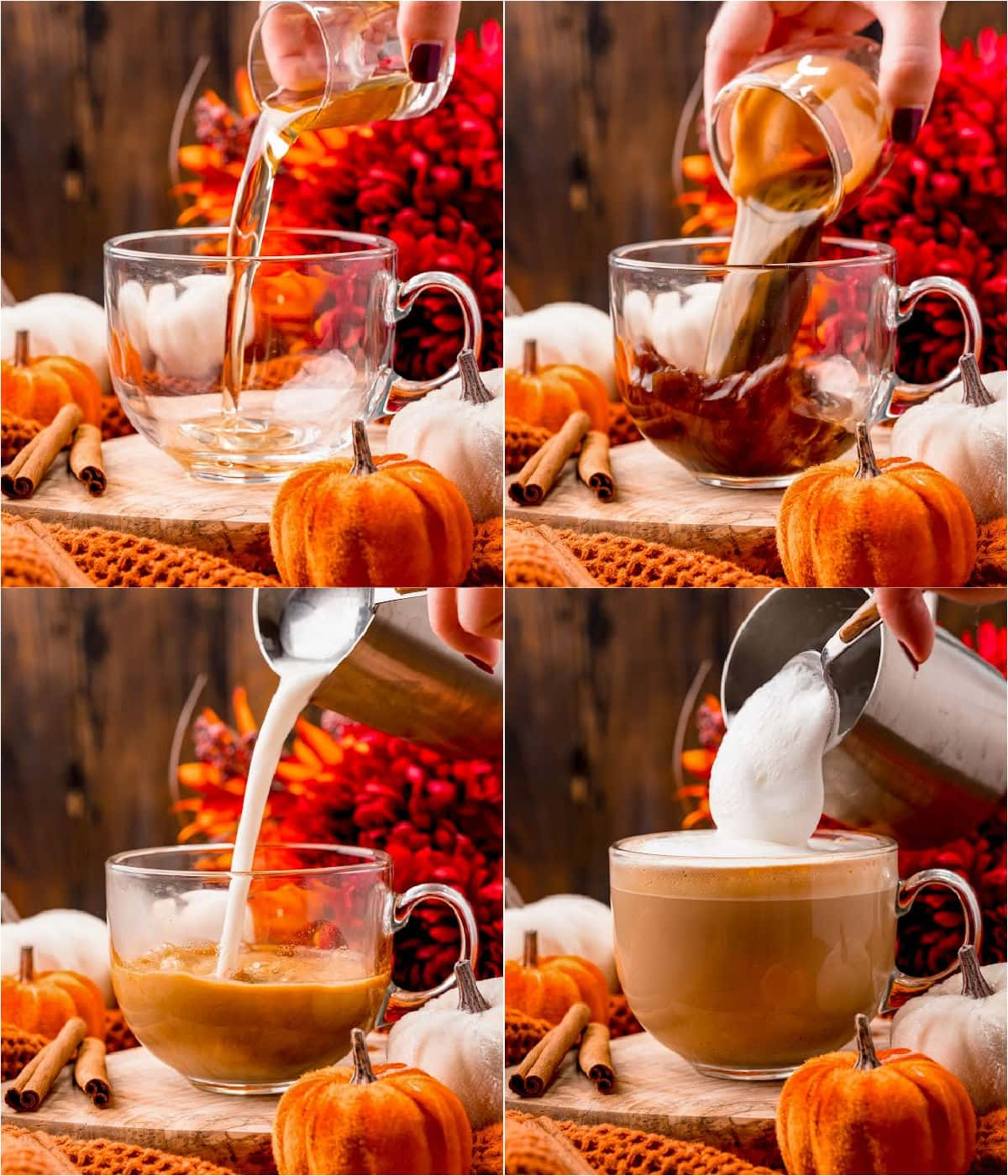 four image collage showing how to make pumpkin spice latte.