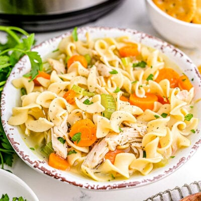 bowl of chicken noodle soup garnished with chopped fresh parsley sitting in front of an instant pot.